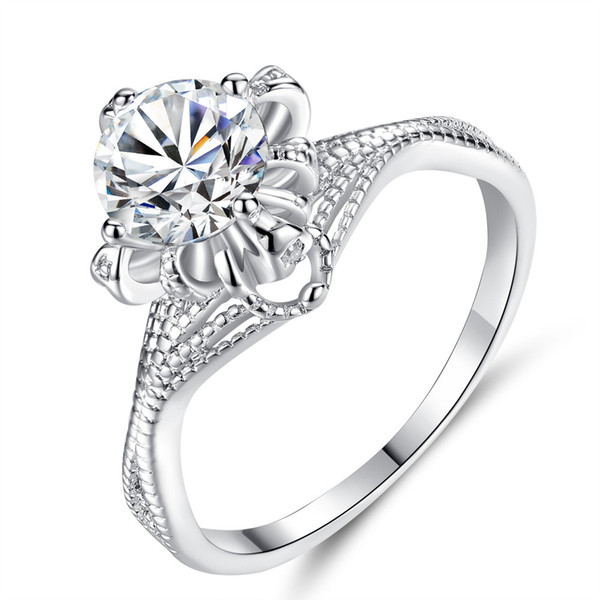 Creative Fashion Zircon Rose Ring Korean Hollow Round Stone Women Jewelry Wedding Gife Wholesale Explosion 2019 New