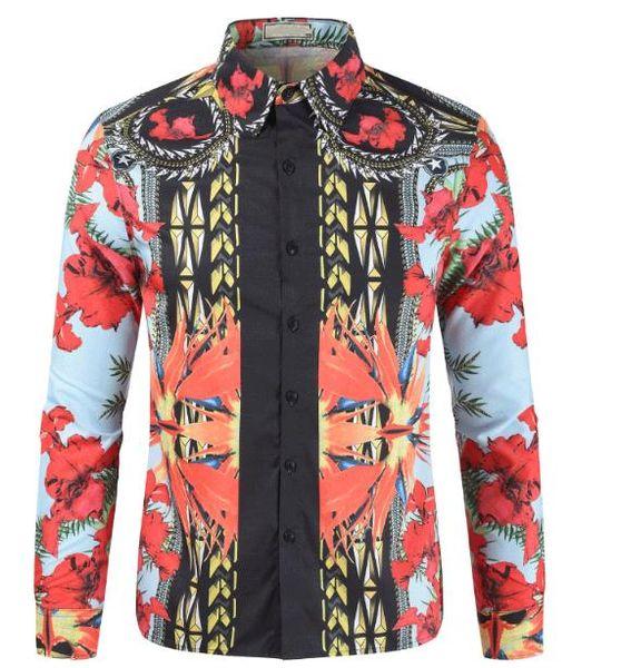 Bright Flowers Design fashion per Camicie a maniche lunghe da uomo camicie sottili e casual per abiti da lavoro