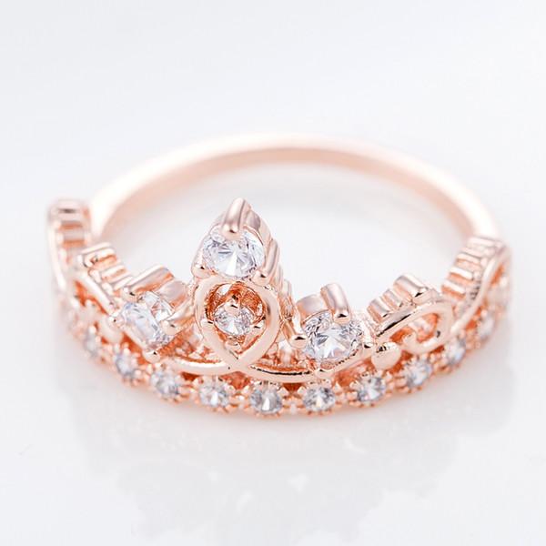 2019 Bague De Couronne De Diamant Pour Les Femmes Rose Bague En Or Anneaux De Cristal bagues De Mariage Anneaux De Mariage Bijoux De Mariage Cadeau Livraison Gratuite