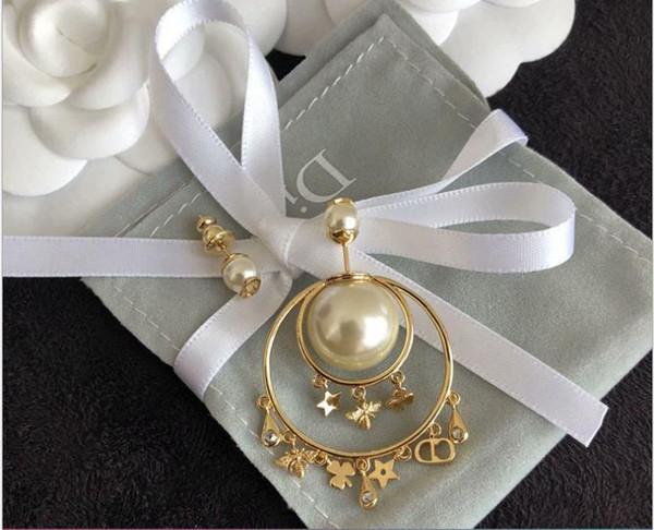 New cravo de pérola brincos assimétricos populares jóias de bronze