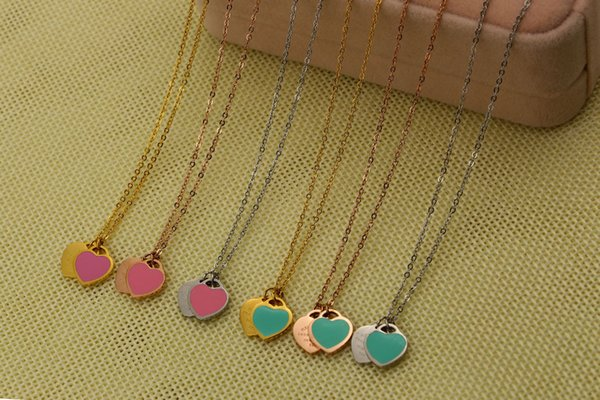 2019 Wholesale Love Pink Blue Double Happiness Necklace Heart Shaped Rose Gold Short Clavicle Chain Eternal Love Free Shipping