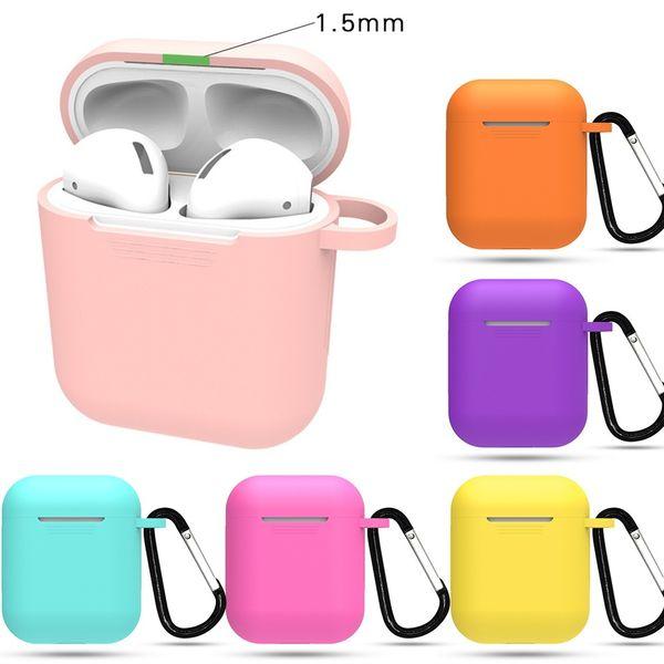 Estuche coloful Air Pods Funda de silicona para Apple Auriculares Airpods Conjunto Protector Funda de piel Aribuds inalámbrico Paquete con hebilla de metal