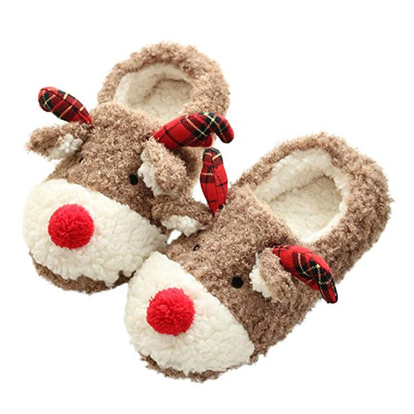 WENYUJH Womans Shoes Christmas Deer Winter Flock Plush Warm Indoor Floor Cotton Slippers Home Slippers Anti-Skid Shoes