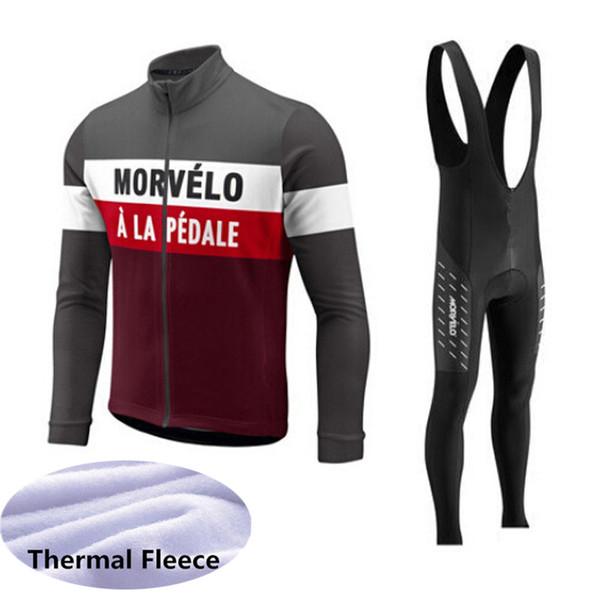 Morvelo team Велоспорт с длинными рукавами трикотажные комбинезоны с нагрудниками брюки Зимний термальный флисовый костюм Мужская Велоспорт Одежда спортивная верхняя одежда Q62937