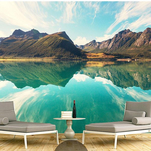 Custom 3d Mural Wallpapers Hd Landscape Mountains Lake Light Mountain Color Simple Large Mural Living Room Background Wallpaper Pc Wallpaper In Hd Pc