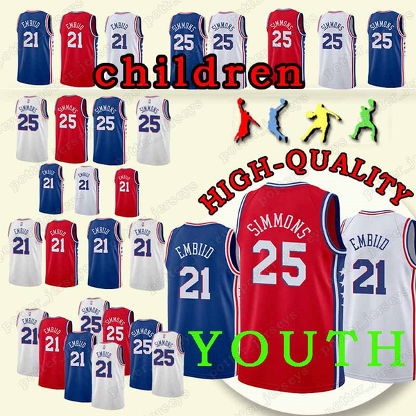 3d581b85ea8 YOUTH Philadelphia 21 Joel Jersey Embiid 76ers 25 Ben Jersey Simmons Cheap  sales 2018 new KIDS