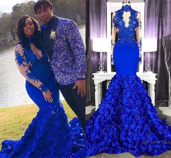 Stunning 3D Rose Flower Royal Blue Prom Dresses 2019 High Neck Sheer Long  Sleeve Applique Mermaid Junior Prom Evening Gowns Plus Size Prom Dresse  2015 ...