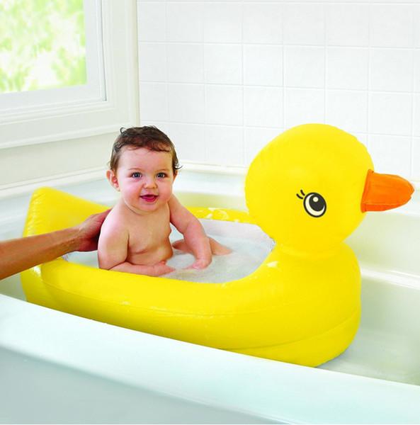 Cartoon Ente Kinderbad Baby-Duschwanne Mini Rubber Inflatable Duck gelbe Wanne Strukturierte, rutschfeste Oberfläche (6-24 Monate)