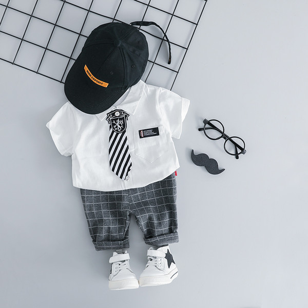 HYLKIDHUOSE 2019 Summer Baby Boys Clothing Sets Infant Clothes Suits Gentleman Style Lapel Shirt Shorts Kids Children Costume