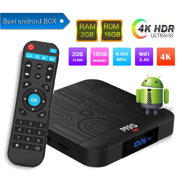 Factory best seller M9S W1 Set-top TV Box 2GB RAM DDR3 16GB Android 7.1 Amlogic S905W Quad-core CPU 2.4GHz WiFi ROM 4K Media Player