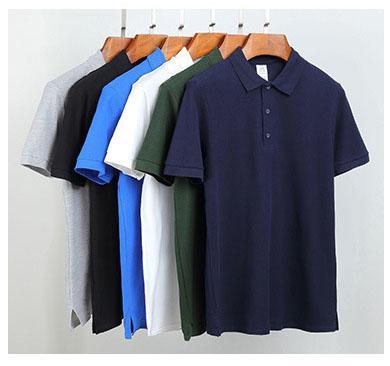 Мужские повседневные рубашки поло 2019 весна-лето новый сплошной цвет Мужская рубашка поло с короткими рукавами Мужская футболка с отворотом Мужская марка Свободные дышащие топы Футболка