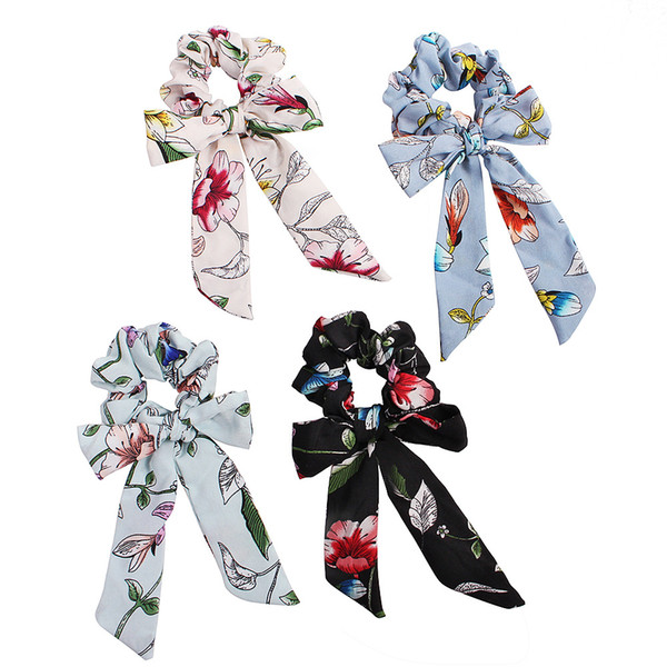 Hair Bows Ponytail Holder Girl Elastic Bowknot Scrunchy Fashion Spring Flowers Hair Tie Women Hairbands Accessories TTA1205