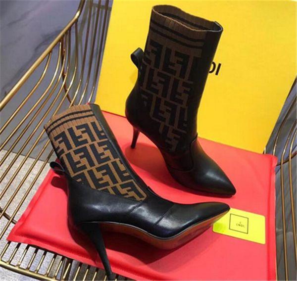 2019 mode des femmes de créateurs de luxe tricot bottes de chaussette Pointu talon haut de la marque 9.5CM F des femmes de la cuisse tube central respirant bottes élastiques