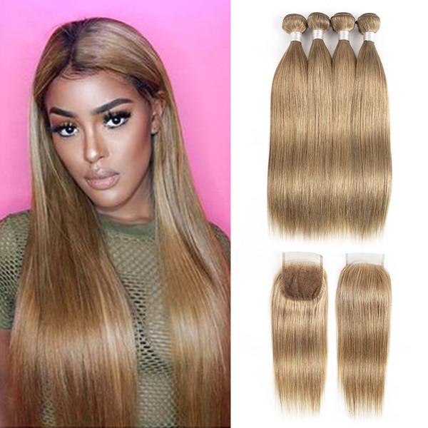 Бразильские пряди с прямыми волосами с закрытием пепельно-русый цвет # 8 4 пучка с закрытием шнурка 4x4 Реми наращивание человеческих волос