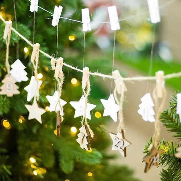 German Christmas Decorations.Christmas Calendar Diy Pendant Wood Decoration Xmas Advent Calendar Hanging Card Christmas Tree Decorations New 2019 German Christmas Decorations