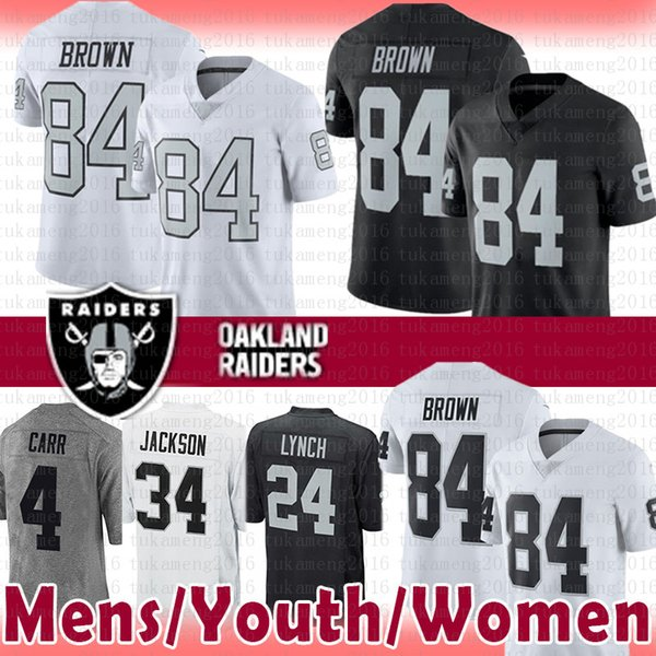 bb60be68 84 Antonio Brown Raiders Jersey Mens Youth Women 2019 New 4 Derek Carr 24 Marshawn  Lynch 34 Bo Jackson Oakland # Raiders Football Jerseys