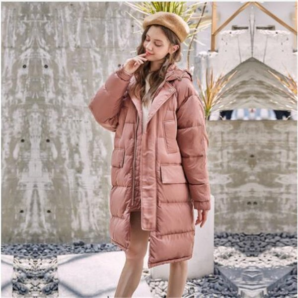 geometric pattern design thickened white duck down warm winter women's down jacket loose long section women's winter clothing - from $116.57