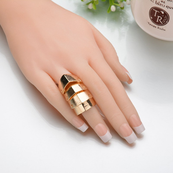 2019 New Arrival 3 Colors Big Size Knuckle Rings For Women Punk Style Metal Armor Ring Wholesale R457