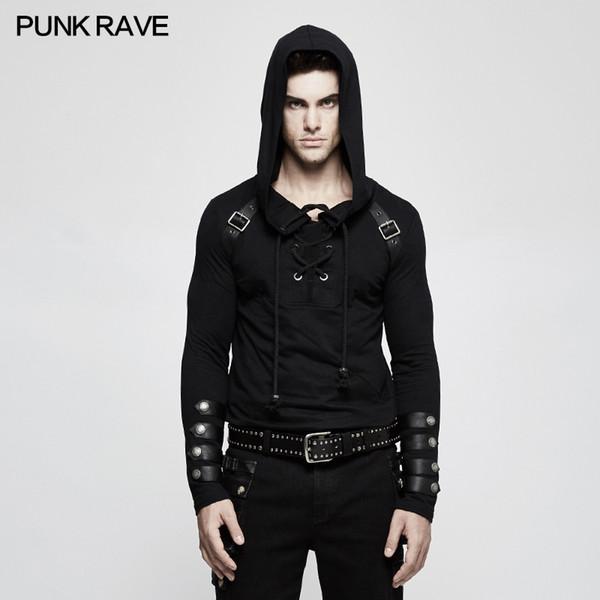 PUNK RAVE Mens Schwarz Steampunk Mit Kapuze Tops Shirt Mode Langarm Hip Hop Straße Pullover Herren T-shirt