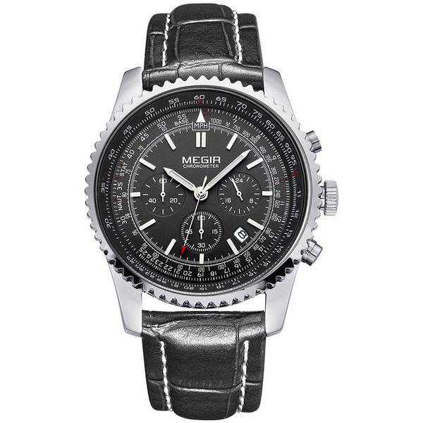 Fashion personality Watch Men's multifunctional three-eyed six-pin men's epidermis with waterproof sports quartz watches 2009G