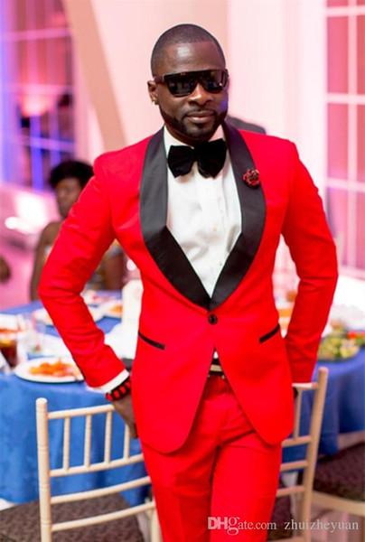 Nouveau Design Deux Pièces Smokings Marié Rouge Noir Châle Lapel Meilleur Groomsmen Suit Pas Cher Hommes Costumes De Mariage (Veste + Pantalon + Cravate)