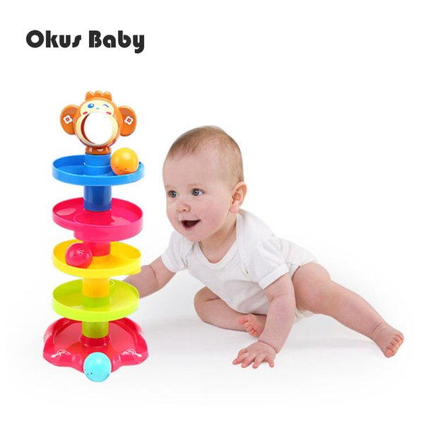 Cute Monkey Animal Baby Toys Tower Puzzle Rolling Ball Bell Rattle Kids Toys Educational Toy Rolling Ball for Children