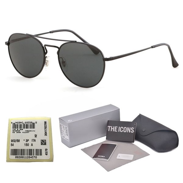 High Quality uv400 Glass Lens Sunglasses Women Men Brand Designer Double Bridge Metal Frame oculos de sol With free cases and label