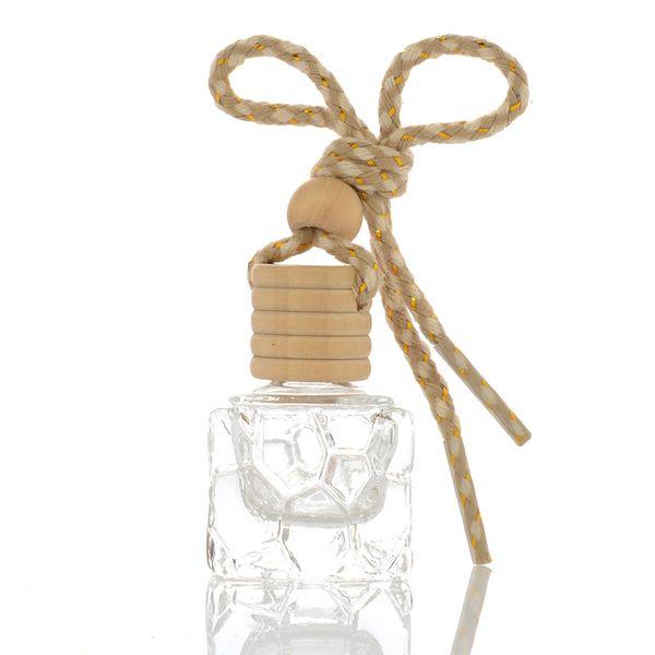10 ML Coche Colgando Botella de Perfume Mini Cubo Recargable Perfume de Vidrio Botellas Vacías Ambientador de Aire Aceites Esenciales difusor Contenedor de Fragancia