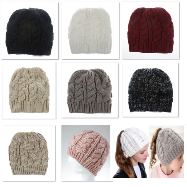 Winter Baby Knit Cap Crochet Beanies Hats Adult Girls Pony Tail Caps Acrylic Warm Christmas Knitted Headgear Hat cap 8 Styles DHL HH9-2424
