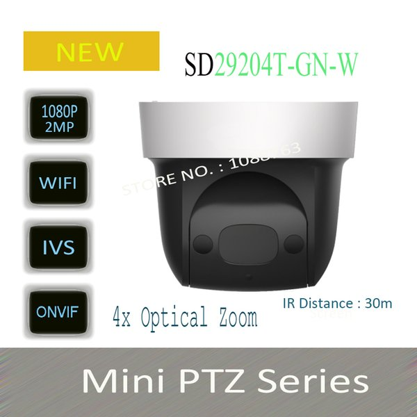 In Stock Free Shipping Security IP Camera cctv 4X 2MP HD Mini IR PTZ Dome Camera with POE Wifi Camera WithLogo DH-SD29204T-GN-W