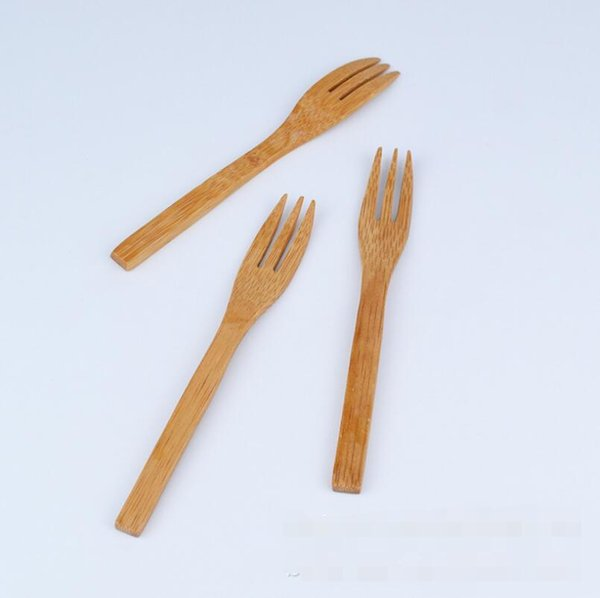 Hot NEW Bamboo Tableware 300pcs(100 set) 100% Natural Bamboo Spoon Fork Knife Set Wooden Dinnerware