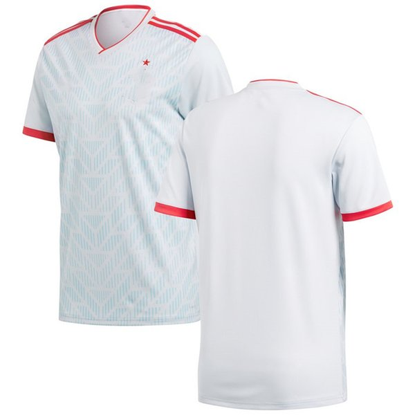 pretty nice b7db5 4d7c8 2019 Men Spain New National Team Soccer 2019 Away Replica Blank Football  Jersey Light Blue Red T Shirts Size S XL From Urbanfantasy, $13.2 | ...