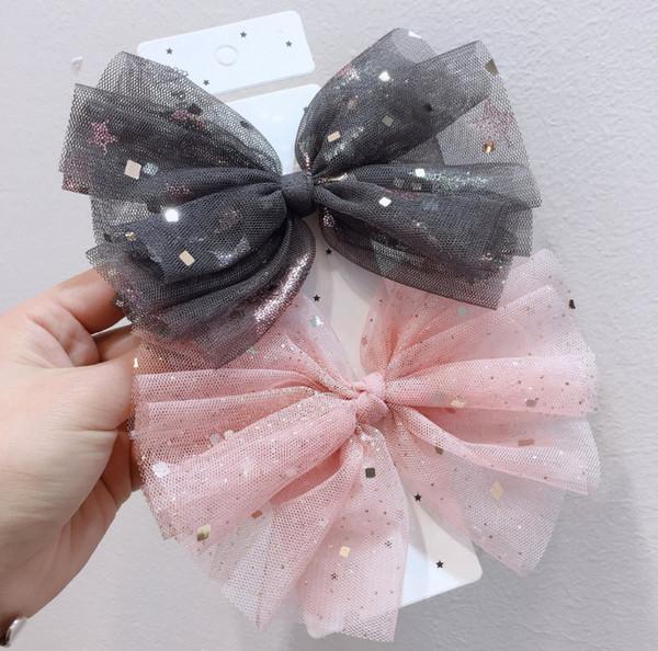 13CM lace Bows girls hairpins kids stars square sequins lace gauze Bows princess hair clip boutique children's day party barrettes F6363