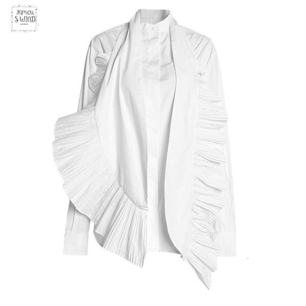 Новая весна лето Стенд ошейник с длинным рукавом Белой Гофрированной 2019 Сыпучие двухкусочной Рубашки Женщина Блузкой Мода Jr839
