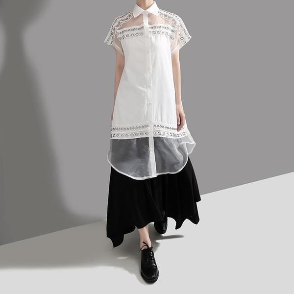 Neue 2019 koreanische Art-Frauen-festes Weiß Sommer-Ineinander greifen Patchwork-beiläufige Hemd-Bluse Short Sleeve Feminine Hemd Chemise femme F307