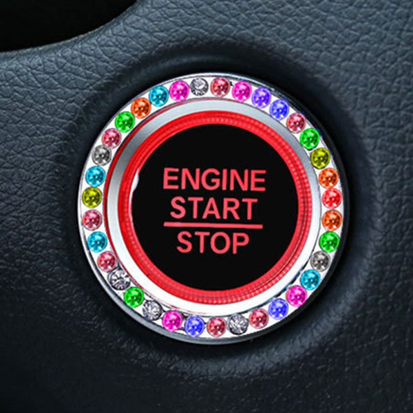 Fashion Crystal Rhinestone Decor Car Engine Start Key Ring Start Stop Ignition Button Sticky Ring