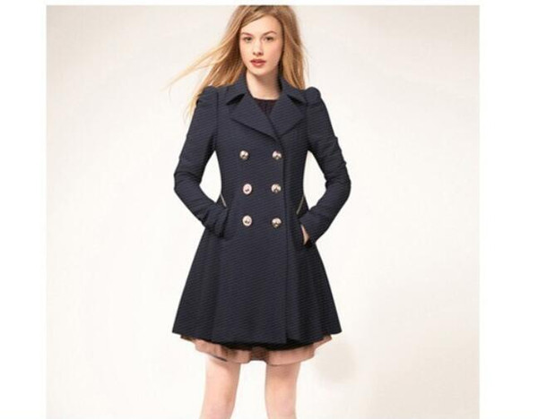 Sexy Women Clothes Trench Coats Parka women jackets Elegant Wind Coat with Double Button Navy Blue Solid Color Long Sleeve winter jacket