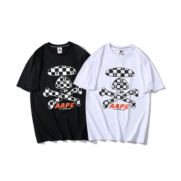 Street Trend Lattice Flag Printing Man T-shirts T T-shirt Personality Fork Bone Lattice Printing Short Sleeve