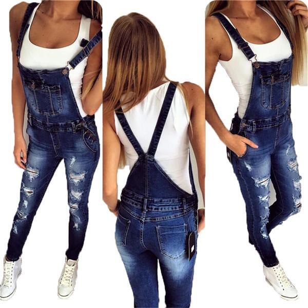 İlkbahar Sonbahar Kadınlar tulumlar Delikler Yıkanmış Kadınlar Pantolon Sıska Pocket Denim Pantolon Artı boyutu tulum Kadın Jumpsuit Pantolon