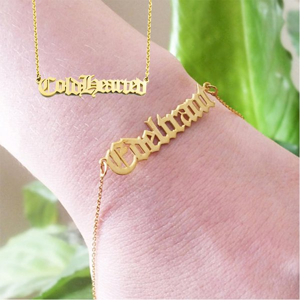 Stainless Steel Gold Gargantilha Old English Name Necklaces Bracelets For Women Bridesmaid Gift Best Friend Custom Jewelry Set