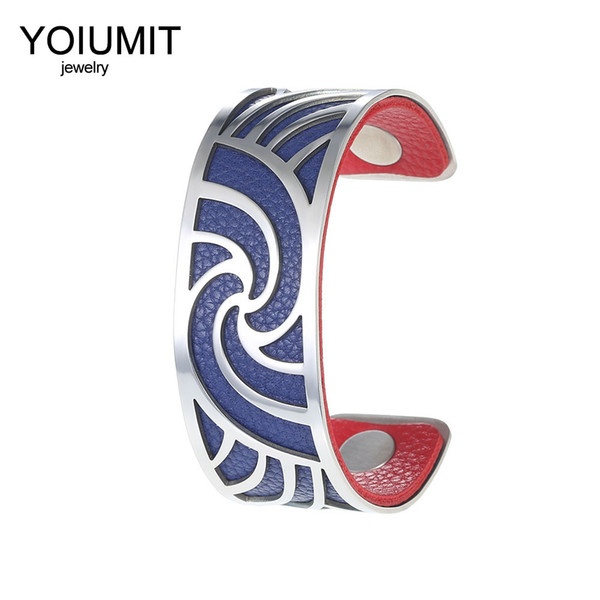 Cremo DIY 13 Colors Cuff Bangle Leather Sliver Bracelet Georgette France Jewelry Pulseiras Love Bangles for Women Femme Bijoux