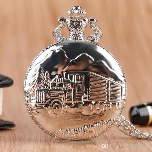 Luxury Silver Train Front Locomotive Lorry Carving Pocket Watch Simple Truck Car Pattern Slim Necklace Chain Men Women Quartz Fob Clock Gift