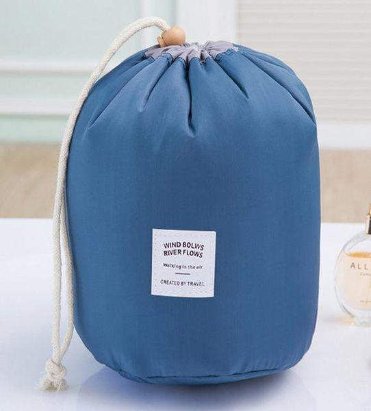 Caliente coreano elegante de gran capacidad en forma de barril Nylon Wash Organizador de viaje de viaje bolsa de maquillaje cosmético bolsa de almacenamiento para mujeres 98RZ