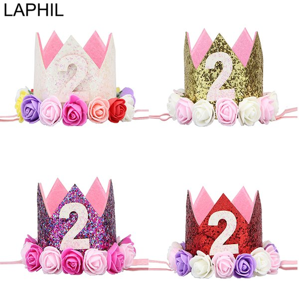 LAPHIL My 2nd Birthday Party Hats Gold Pink Crown Cap For Baby Decorations Kids