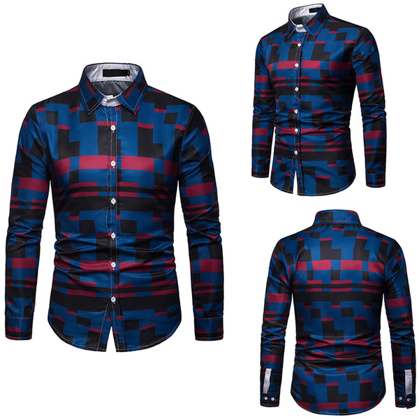 Men Shirt 3D Fashion Smart Casual Plaid Camisa Masculina Single Breasted Shirt Slim Fit Collar Mens Shirts EU Size M-3XL