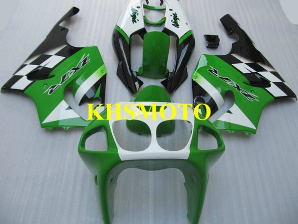 Kit de Carenagem da motocicleta para KAWASAKI Ninja ZX7R ZX-7R 1996 2003 ZX 7R 96 97 02 03 ABS Verde branco preto Carimbos set + presentes KZ06