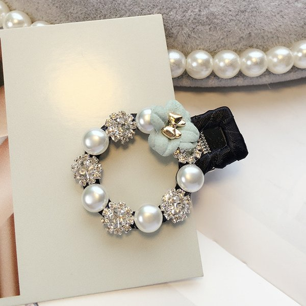 New Baby Hair Clips Rhinestone Pearls Hairpins Children Hair Accessories Flower Wrapped Bow With Pearls Princess