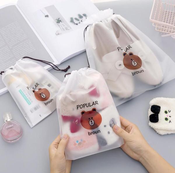 f043bdac46b751 Brown Bear Transparent Cosmetic Bag Travel Makeup Case Women Zipper Make Up  Bath Organizer Storage Pouch