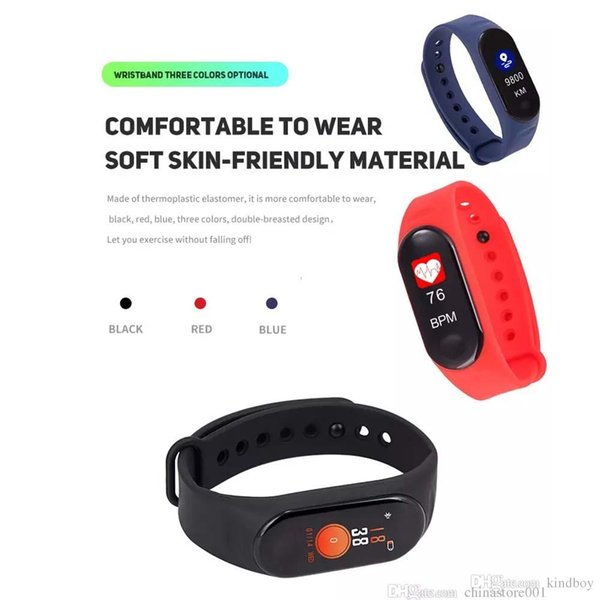 M3 Smart Band Blood Pressure Fitness Tracker Pedometer Heart Rate Monitor Smart Bracelet Wristband For IOS Android Phone DHL ship
