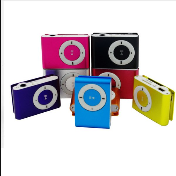 High quality Mini clip MP3 player earphones USB cable support TF card TF card micor SD cardcome with crystal box
